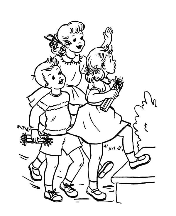 Attending Birthday Party Coloring Pages