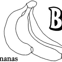 B is for Banana Bunch Coloring Pages