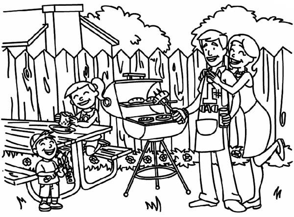 Backyard Family Picnic Coloring Pages