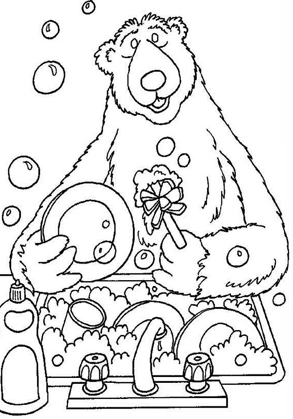 Bear inthe Big Blue House Doing Dishes Coloring Pages