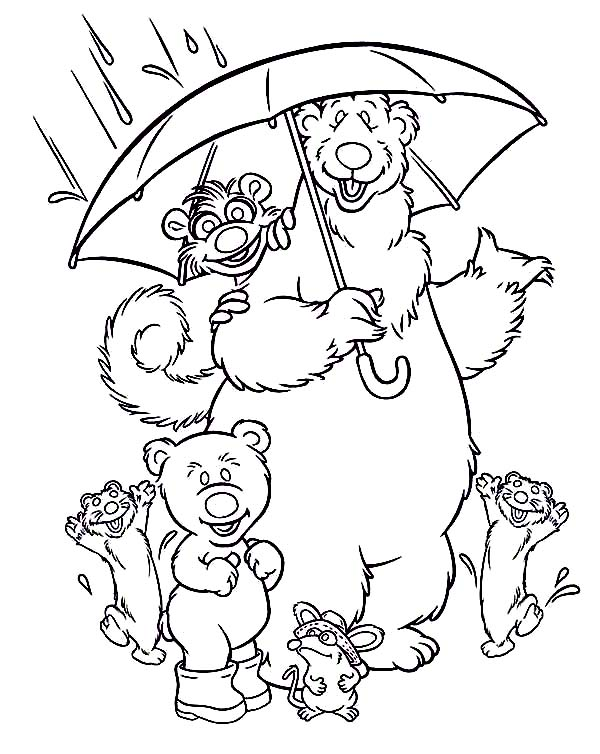 Bear inthe Big Blue House and Friends Under the Rain Coloring Pages