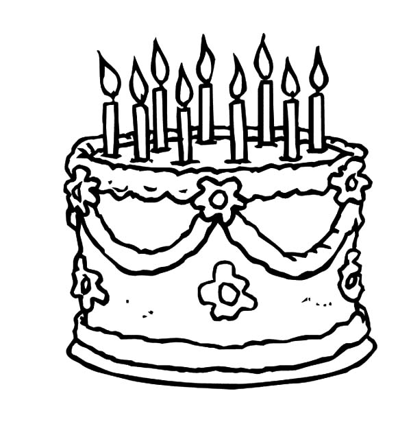 Beautiful Birthday Cake Coloring Pages