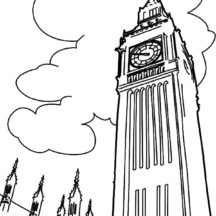 Beautiful Clock Tower Coloring Pages