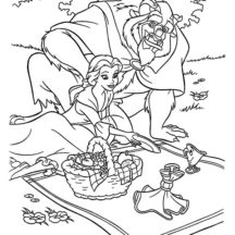 Beauty and the Beast Family Picnic Coloring Pages