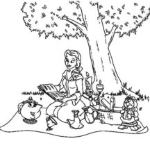Belle and Friends Family Picnic Coloring Pages