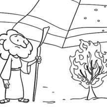 Bible Story Burning Bush Moses Coloring Pages