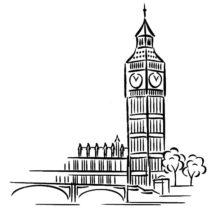 Big Ben Clock Tower Architechture Coloring Pages