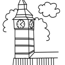 Big Ben Clock Tower in London Coloring Pages
