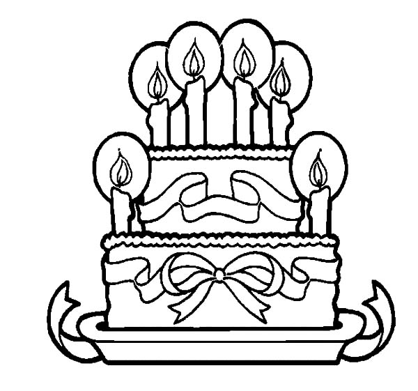 Big Cake with Birthday Candle Coloring Pages