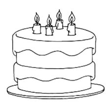 Birthday Cake Coloring Pages