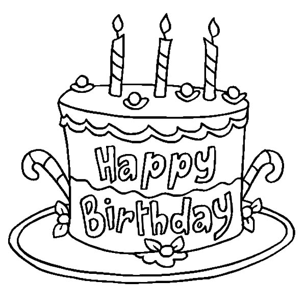 Birthday Cake Decorated with Candy Cane Coloring Pages