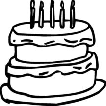 Birthday Cake Outline Coloring Pages