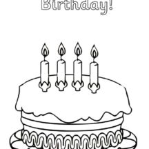 Birthday Cake for Fourth Birthday Coloring Pages