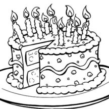 Birthday Cake on Round Plate Coloring Pages