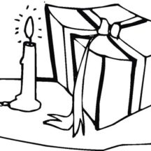 Birthday Candle and Birthday Present Coloring Pages