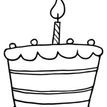 Birthday Candle on Birthday Cake Coloring Pages