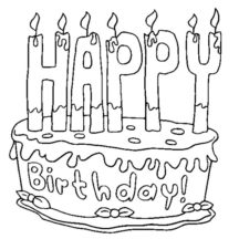 Birthday Candle on Chocolate Cake Coloring Pages