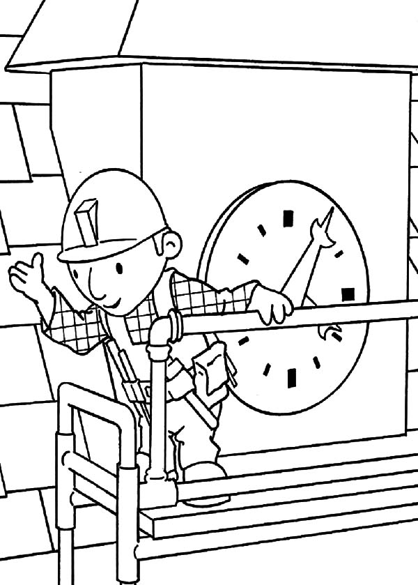 Bob the Builder Doing Clock Tower Maintenance Coloring Pages