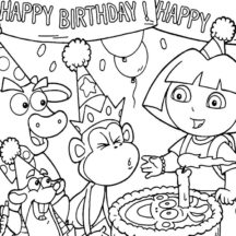 Boots Blowing Birthday Cake Candle at Birthday Party Coloring Pages