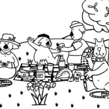 Boowa and Kwala Family Picnic Coloring Pages