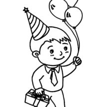 Boy Bring Three Balloons at Birthday Party Coloring Pages