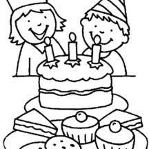 Boy and Girl Ready to Blow Candle on Chocolate Birthday Cake Coloring Pages