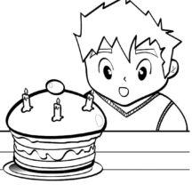 Boy is Amazed with His Birthday Cake Coloring Pages