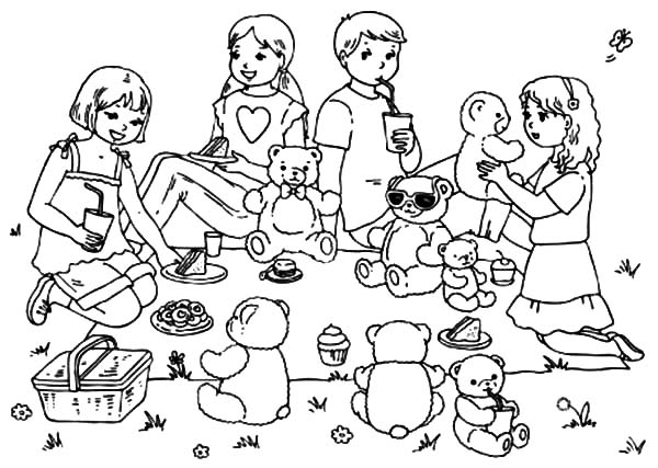 Bring Your Teddy Bears at Family Picnic Coloring Pages - NetArt