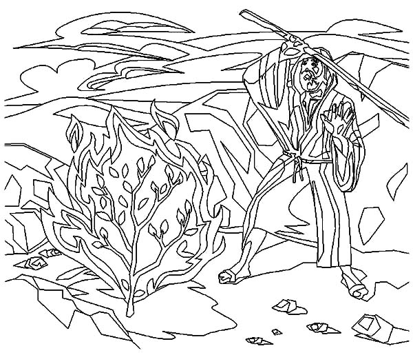 Burning Bush Moses Story Coloring Pages