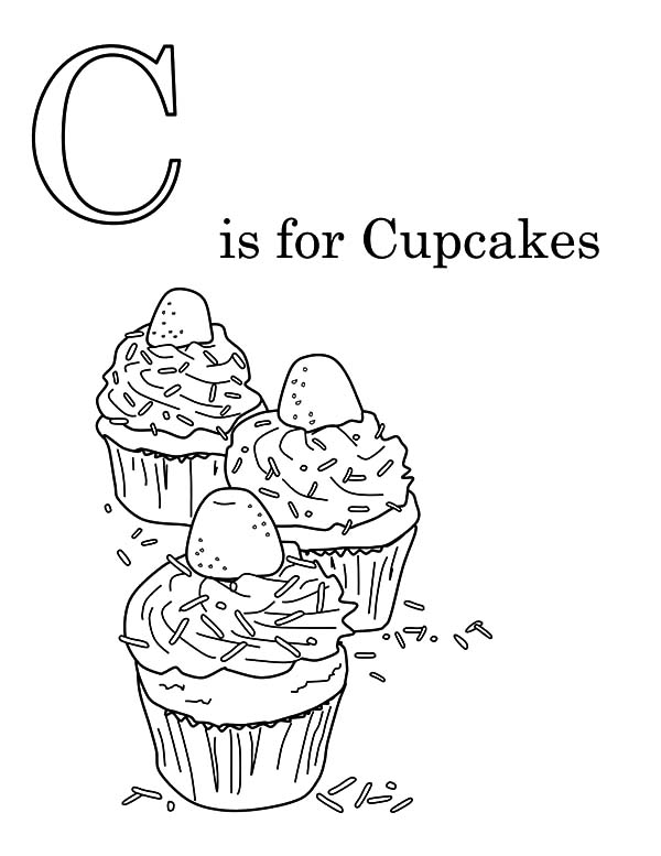 C is for Cupcakes Coloring Pages