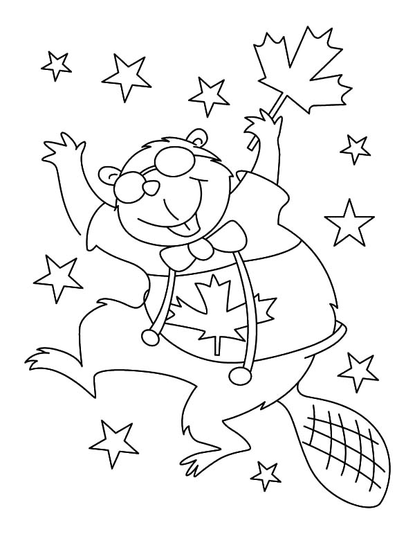 Canada Day Beaver Dance Coloring Pages