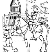 Canada Day Ride a Horse Coloring Pages