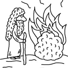 Cartoon of Moses Burning Bush Coloring Pages
