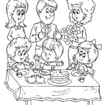 Celebrating Birthday Party Coloring Pages