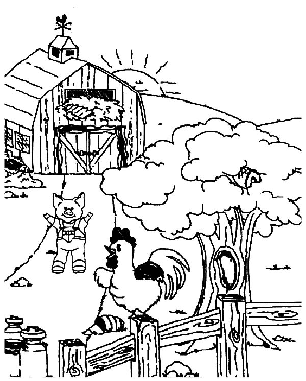 Chicken Coop Big Barn Coloring Pages