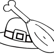 Chicken Drumstick Pilgrim Hat Coloring Pages