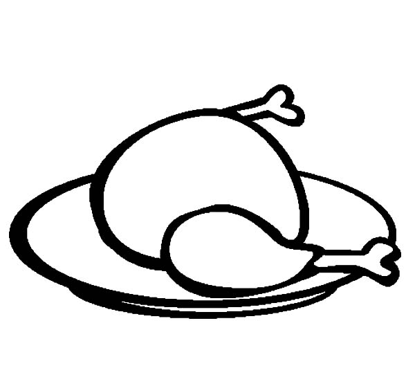 Chicken Drumstick on Plate Coloring Pages