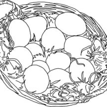 Chicken Egg Basket Coloring Pages