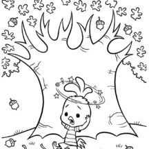 Chicken Little Falling from Acorn Tree Coloring Pages