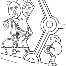Chicken Little Hiding from Egg Robot Coloring Pages
