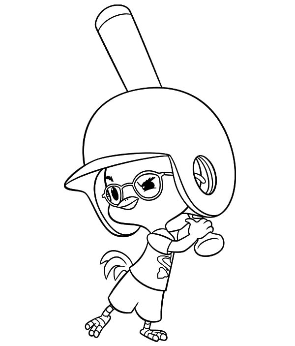 Chicken Little Play Baseball Coloring Pages