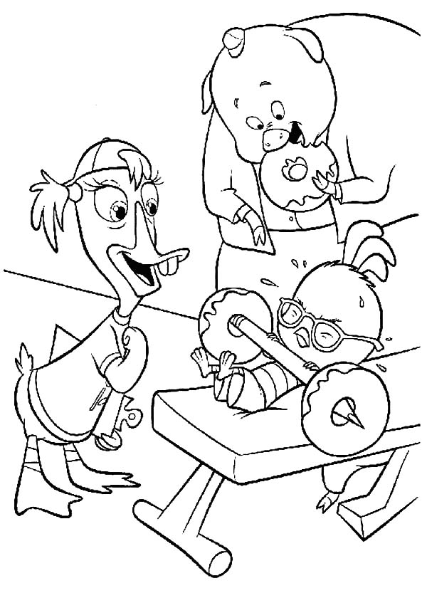 Chicken Little Try to Weighlifting Couple of Donut Coloring Pages