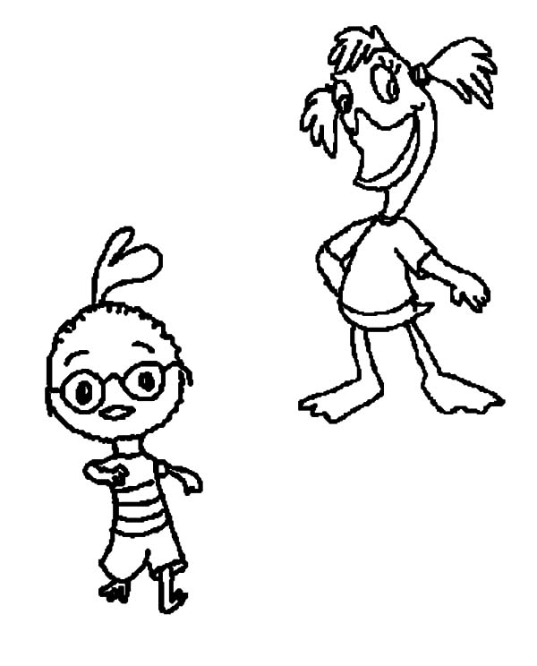 Chicken Little and Abigail Mallard Coloring Pages