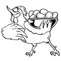 Chicken Serving Boiling Egg Coloring Pages