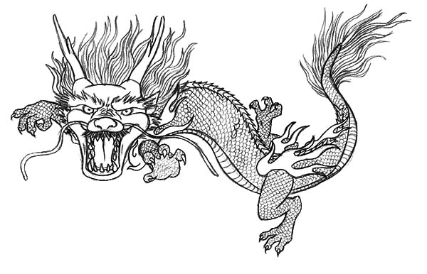 Chinese Dragon Attack Coloring Pages
