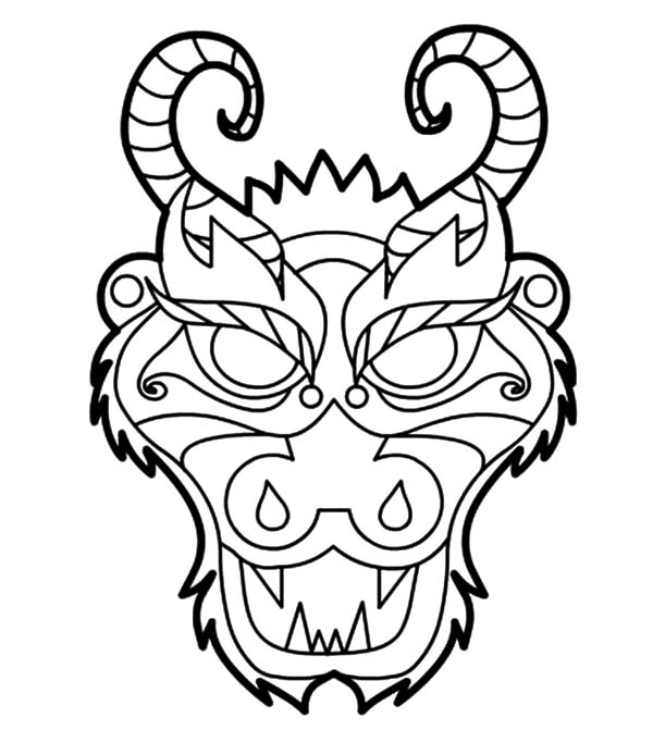 Chinese Dragon Mask Coloring Pages