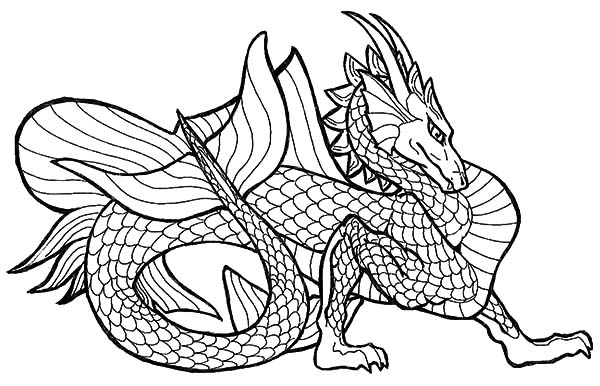 Chinese Dragon Stepping Forward Coloring Pages
