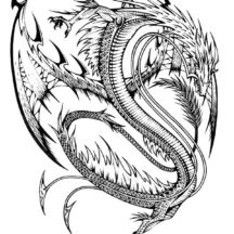 Chinese Dragon Tattoo Design Coloring Pages