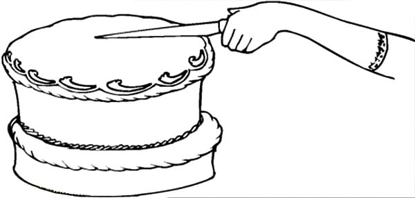 Chocolate Cake First Cut Coloring Pages