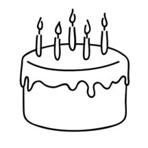 Chocolate Cake for Celebrate Five Year Old Kid Coloring Pages